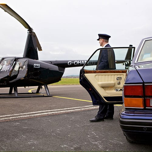 Bentley Brooklands at Cotswold airport with private helicopter