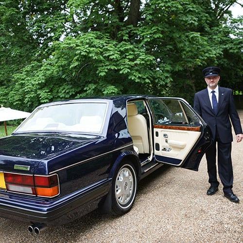 chauffeur by luxury wedding car Cheltenham Bentley Brooklands