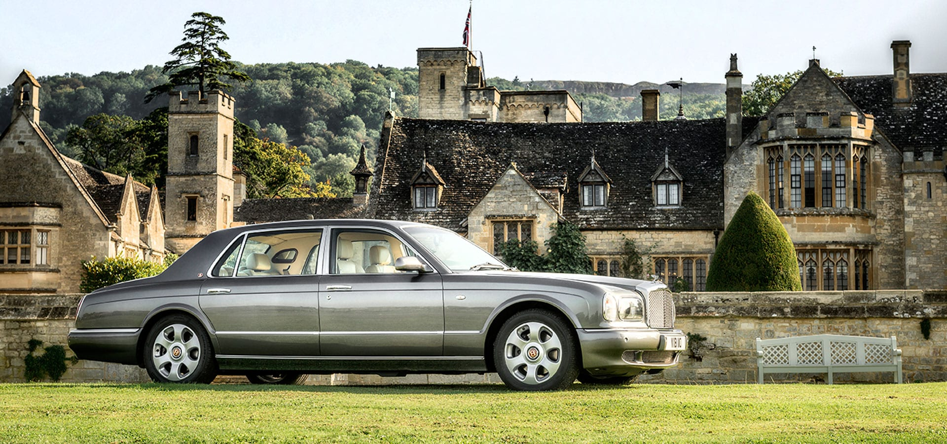 Bentley Arnage wedding car outside Ellenborough Park, Cheltenham