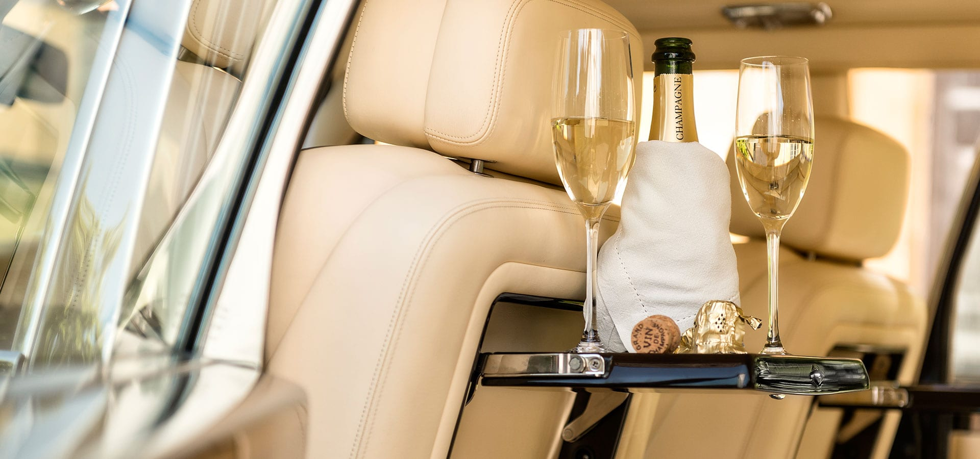 Bentley Arnage interior with complementary champagne