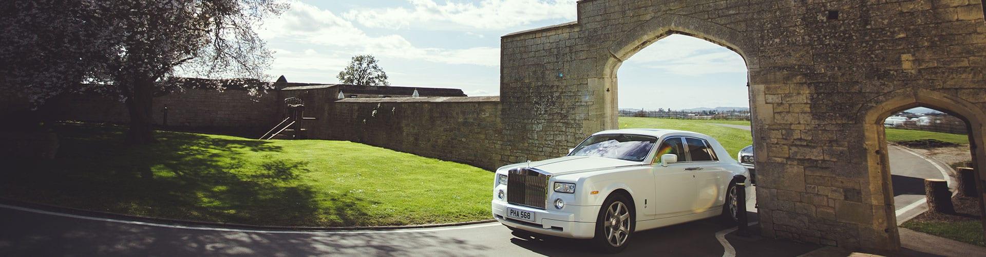 Rolls-Royce Phantom wedding car in pearlescent white