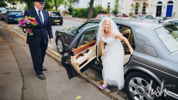 Lucy stepping out of the Bentley Arnage with Azure's Chauffeur