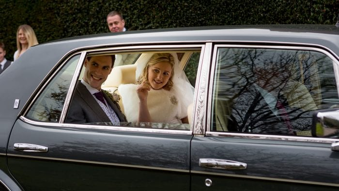 Bride and Groom, Danielle and Alex, in the Rolls-Royce Flying Spur