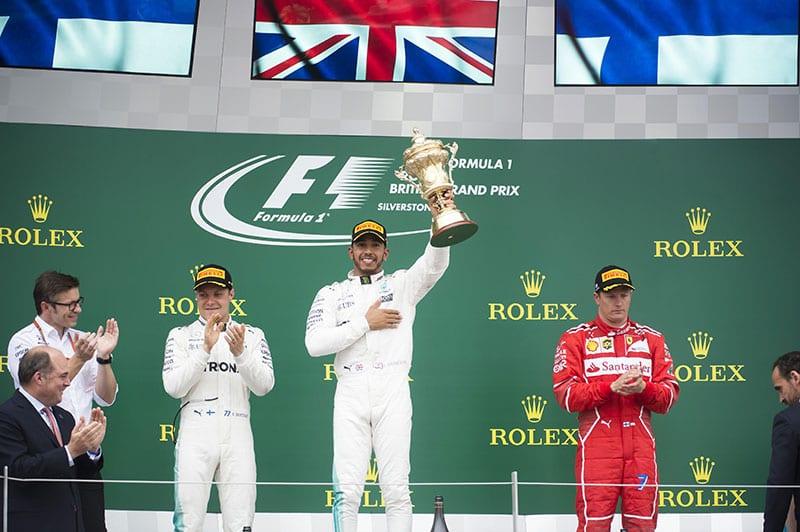 Valtteri Bottas and Lewis Hamilton on the podium  at the British Grand Prix 2017