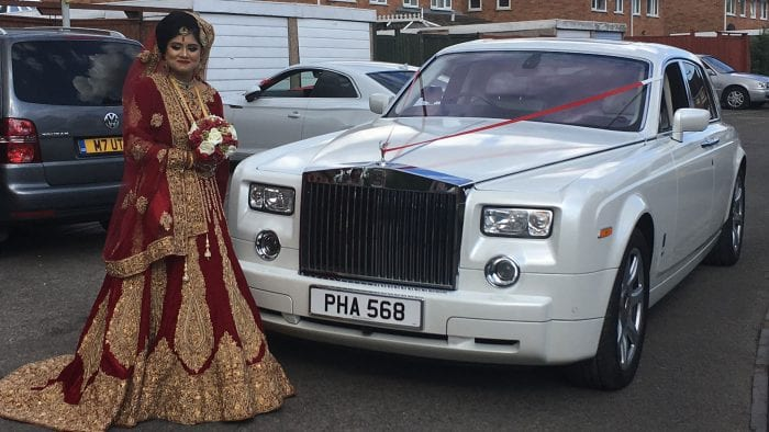 Tahera with the Rolls-Royce Phantom Wedding Car
